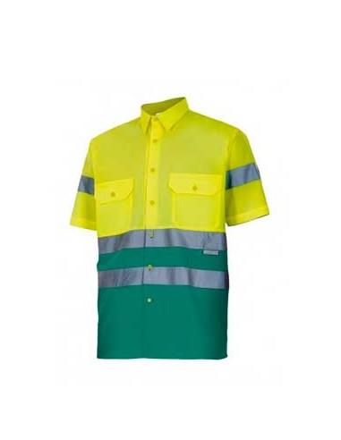 Camisa bicolor manga corta alta...